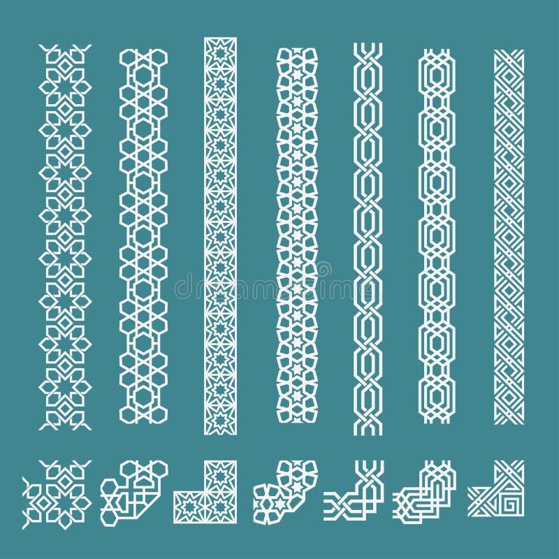 Исламский безшовный орнамент границы установил для украшения иллюстрация штока