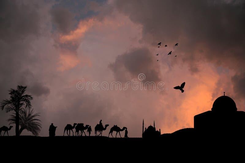 исламский заход солнца иллюстрация вектора