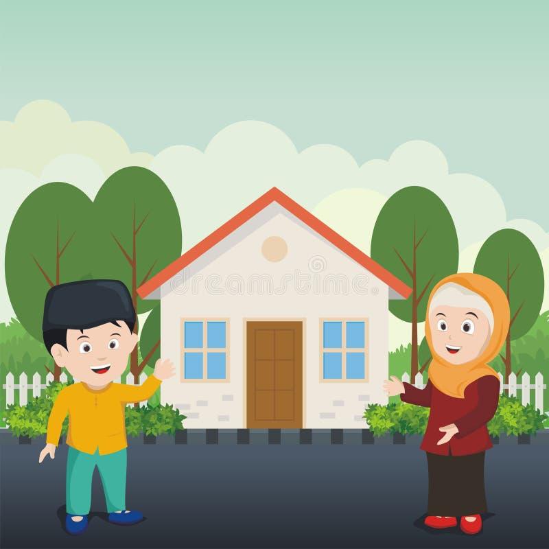 Исламский ребенк показывая их чистый дом бесплатная иллюстрация