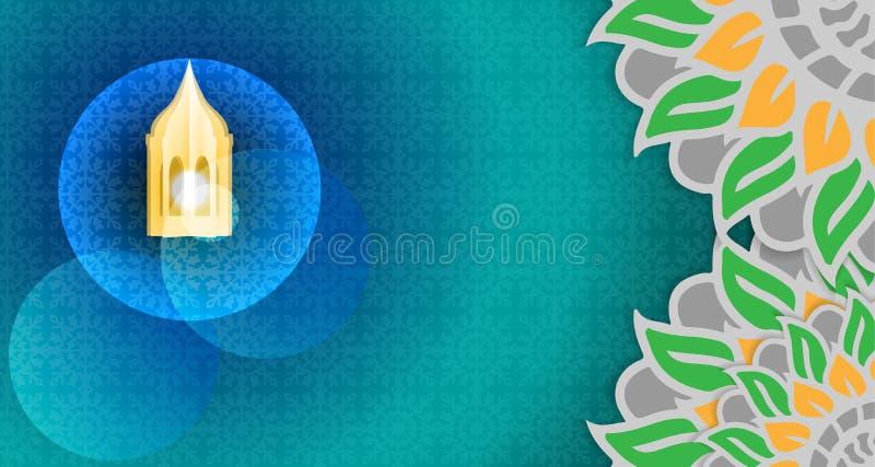 Исламский шаблон предпосылки пустая рамка с религиозным исламским стилем стоковое фото