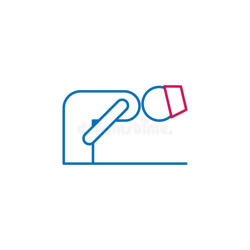 Ислам, линия значок позиции 2 ruku покрашенная Простая голубая и красная иллюстрация элемента Ислам, символ плана концепции позиц иллюстрация штока