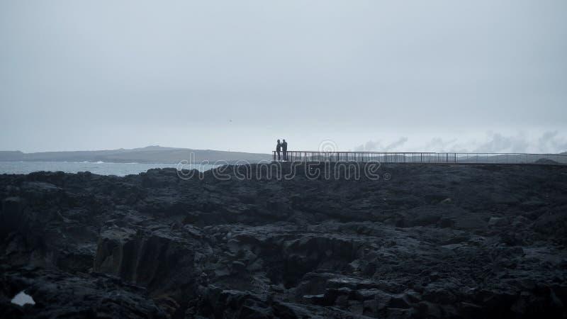Исландские взгляды океана и туристов стоковое изображение rf