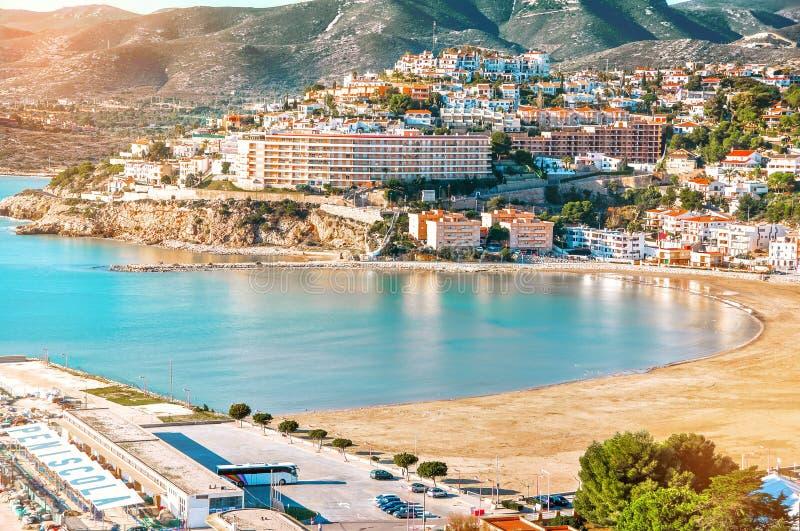 Испания Валенсия, Peniscola Взгляд моря от высоты Po стоковые изображения