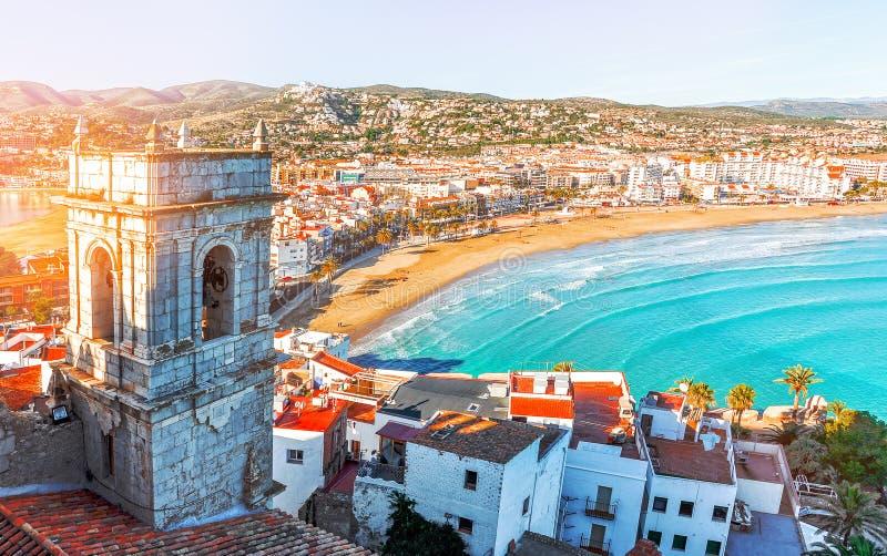 Испания Валенсия, Peniscola Взгляд моря от высоты Po стоковая фотография rf