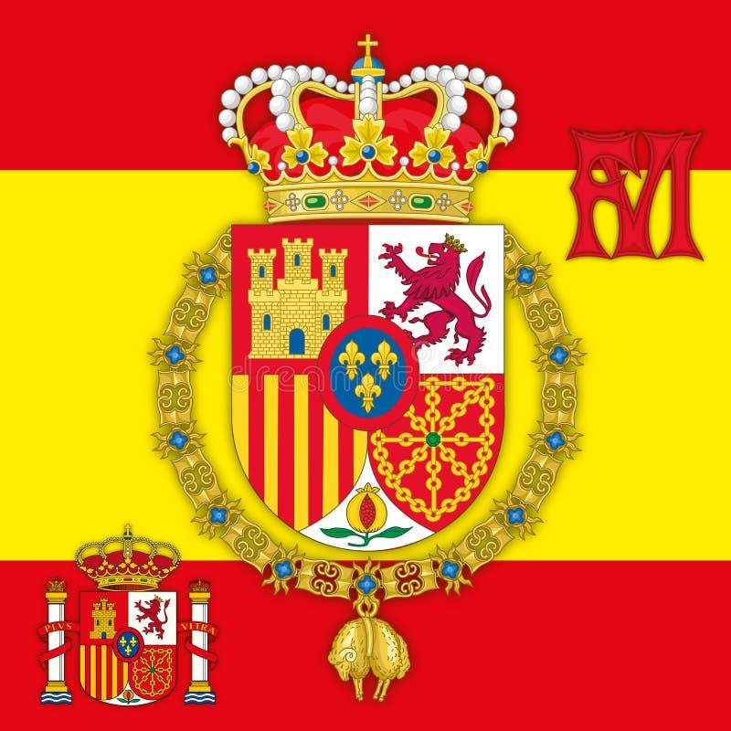 Испания, герб королевства Испании с флагом & вензелем бесплатная иллюстрация