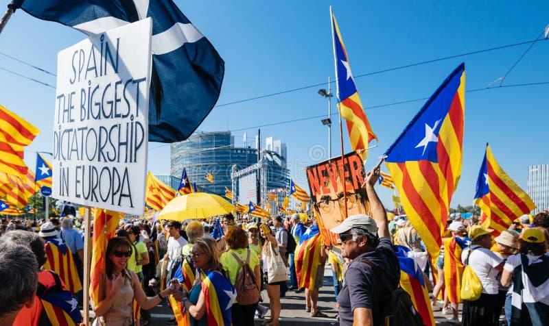 Испания самая большая диктатура в плакате Европы на протесте стоковое фото rf