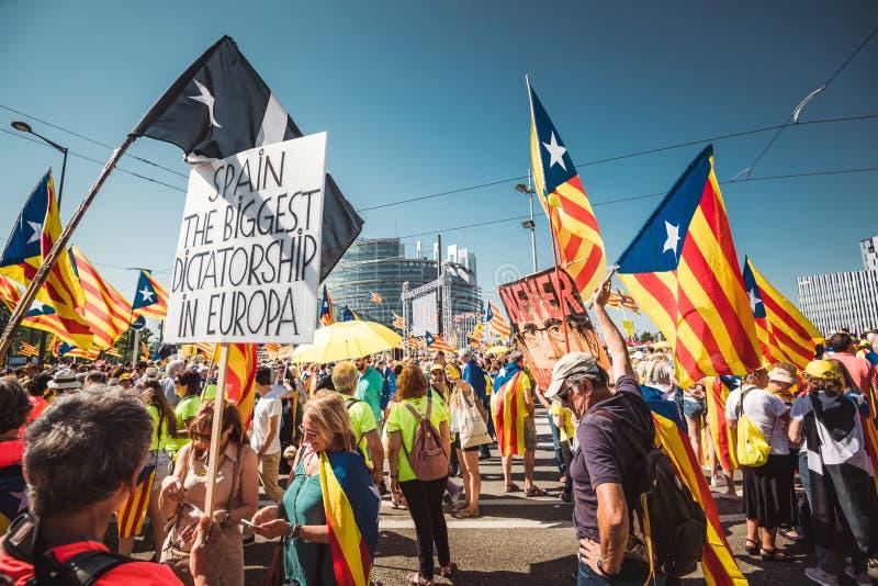 Испания самая большая диктатура в плакате Европы на протесте стоковая фотография