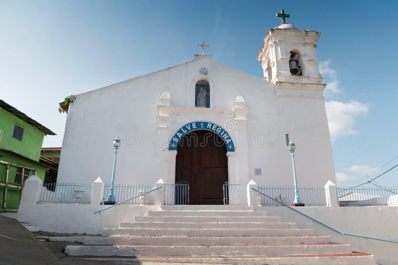 Испанская католическая церковь в Isla Taboga Панама (город) стоковое фото rf