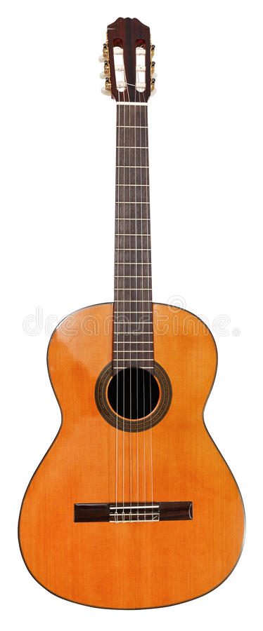 Испанская классическая акустическая изолированная гитара стоковые изображения