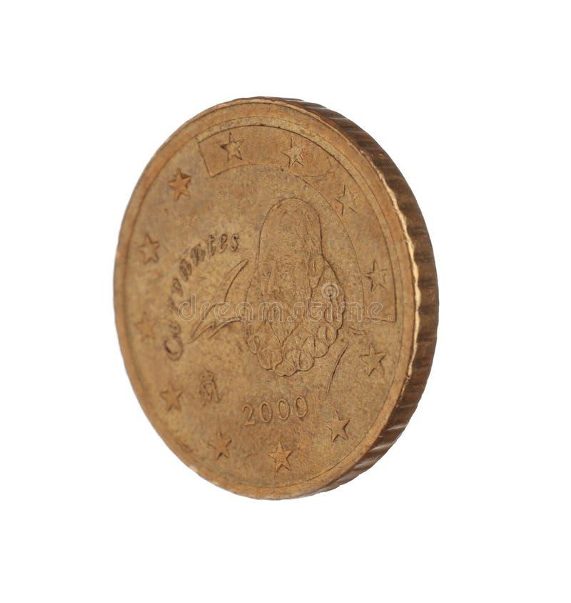 Испанская монетка цента евро 50 стоковые фото