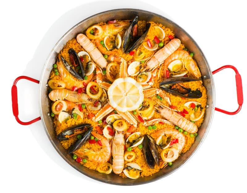 Испанская паэлья морепродуктов, осматривает сверху стоковое изображение rf