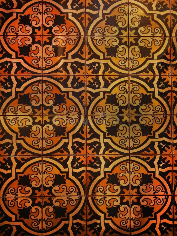 Испанская плитка с красивой вычисляемой картиной, пестротканой стоковые фотографии rf