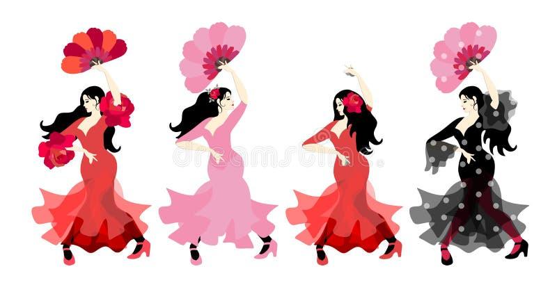Испанские девушки в красочных длинных платьях с кастанеттами и вентиляторами танцуя фламенко в их руках изолированных на белой пр бесплатная иллюстрация