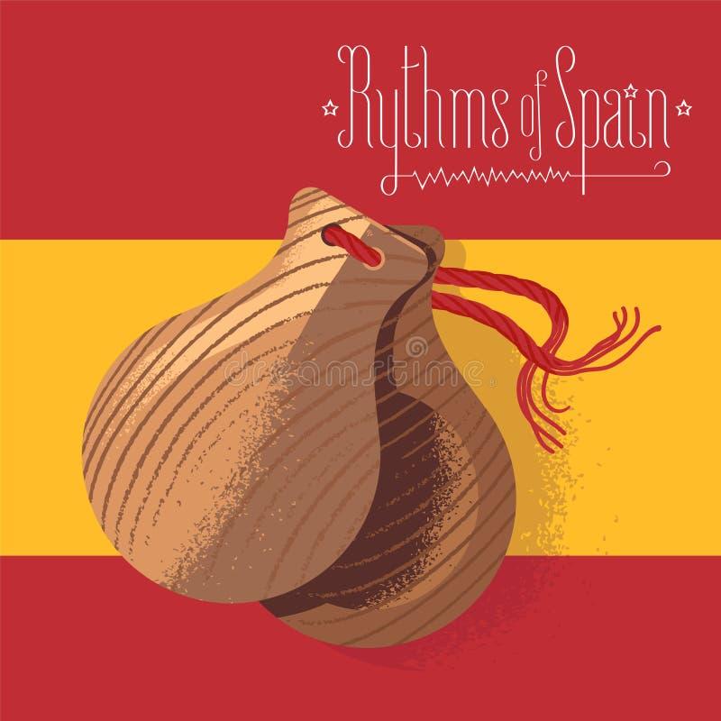 Испанские кастанетты vector иллюстрация, элемент дизайна на предпосылке испанского языка сигнализируют иллюстрация вектора