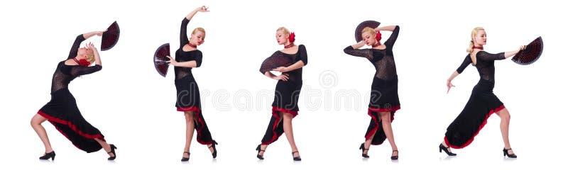Испанские языки женщины танцуя танцуют изолированный на белизне стоковое фото rf