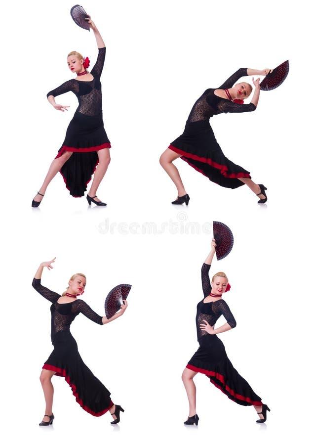 Испанские языки женщины танцуя танцуют изолированный на белизне стоковые фотографии rf