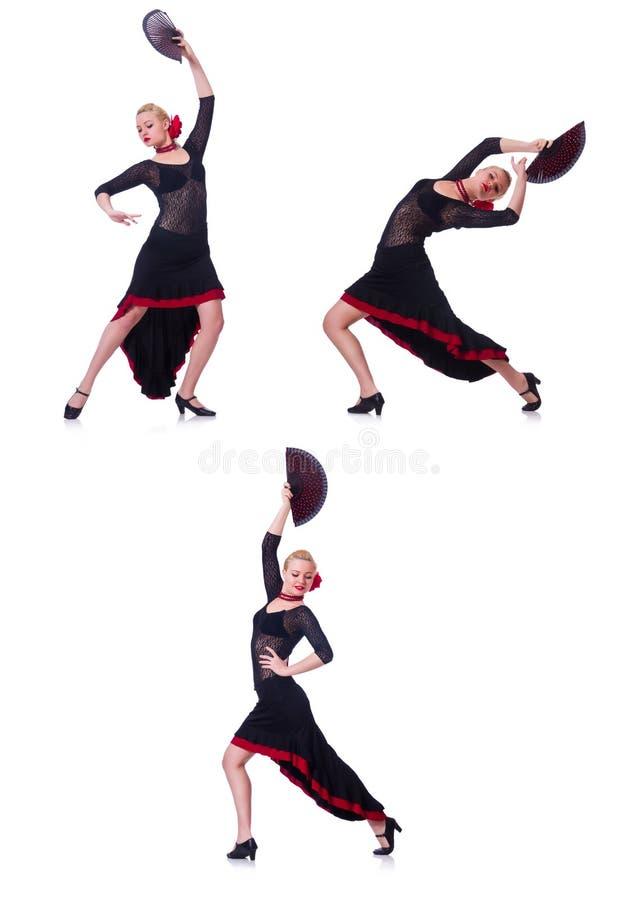 Испанские языки женщины танцуя танцуют изолированный на белизне стоковые изображения rf