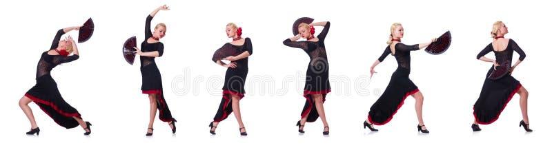 Испанские языки женщины танцуя танцуют изолированный на белизне стоковое изображение