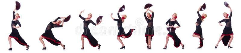 Испанские языки женщины танцуя танцуют изолированный на белизне стоковые фото