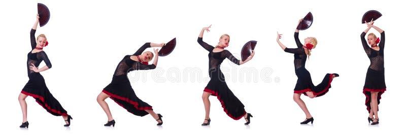 Испанские языки женщины танцуя танцуют изолированный на белизне стоковое фото