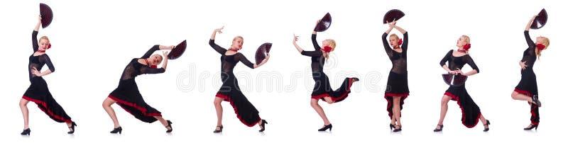 Испанские языки женщины танцуя танцуют изолированный на белизне стоковое изображение rf