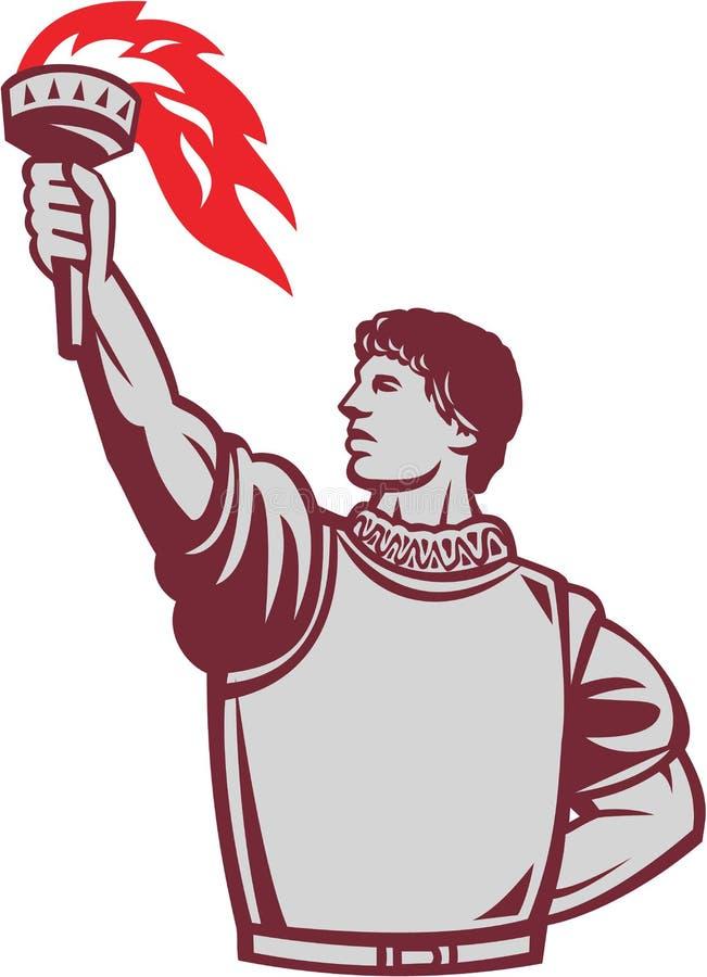 Испанский конкистадор поднимая вверх факел ретро иллюстрация штока
