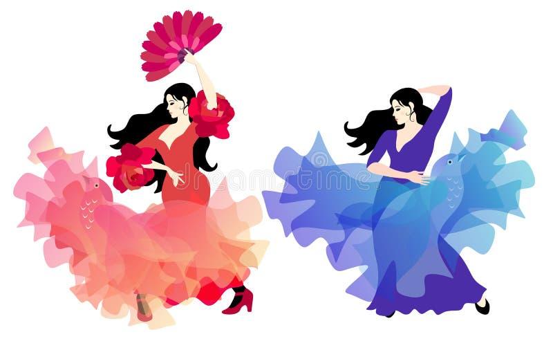 Испанский танцор фламенко в красном платье, кромка которого витает как птица, и цыганской девушке в сирен-голубом платье с шалью  иллюстрация штока