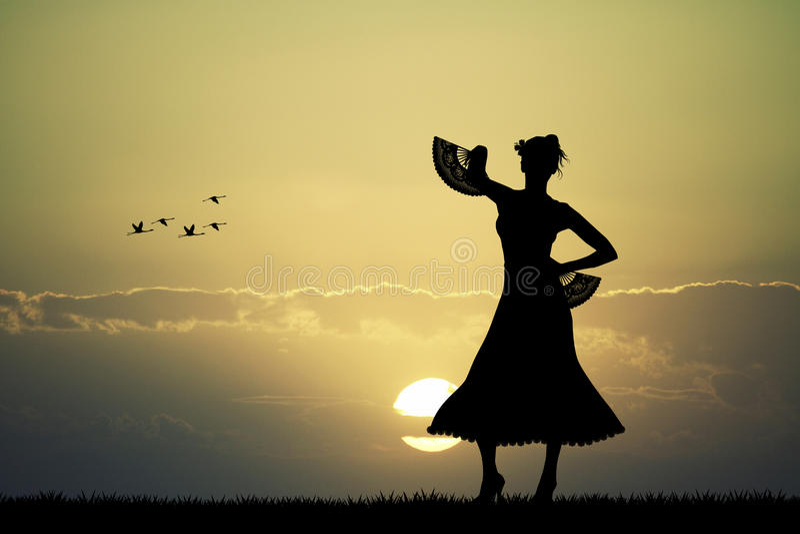 Испанский танцор фламенко на заходе солнца иллюстрация штока