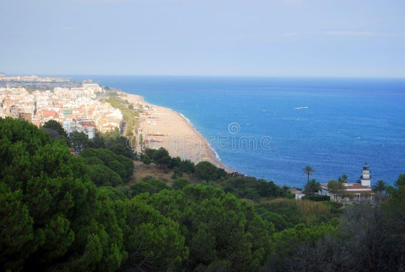 Испанское среднеземноморское побережье Calella стоковое изображение rf