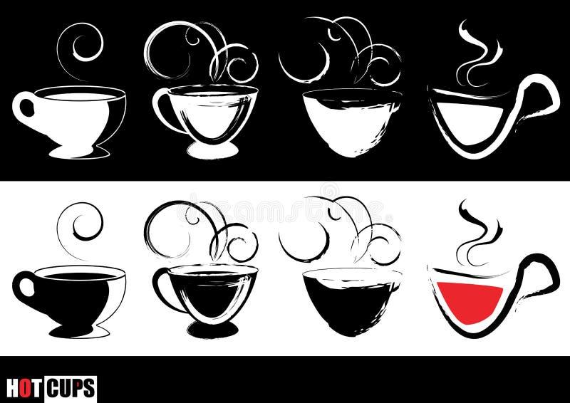 испаряться кофейных чашек иллюстрация вектора