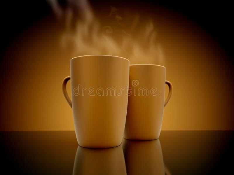 Испаряться кружек кофе На поверхности зеркала бесплатная иллюстрация