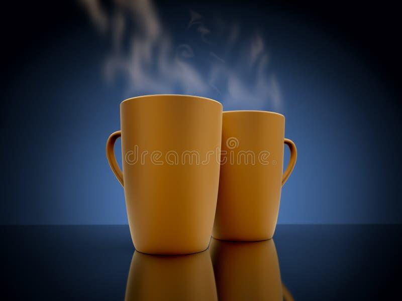 Испаряться 2 кружек кофе иллюстрация вектора