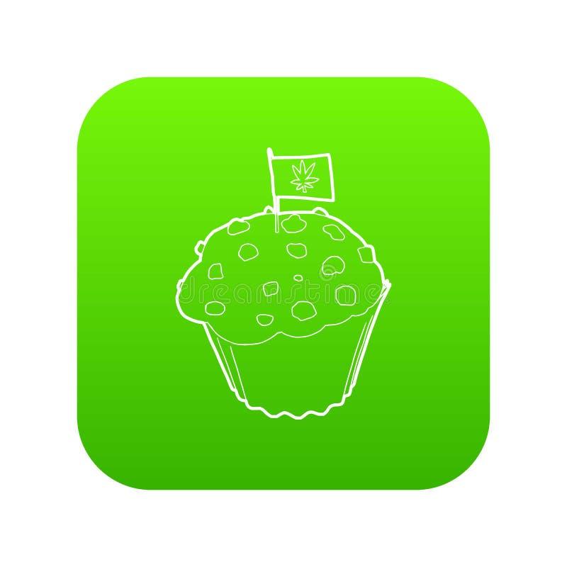 Испеките и сигнализируйте с вектором зеленого цвета значка лист марихуаны бесплатная иллюстрация
