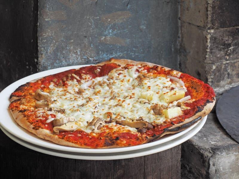 Испеченная вкусная пицца около печи стоковые изображения