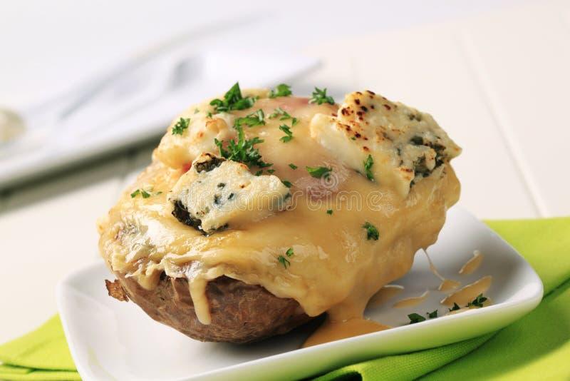 испеченная картошка двойника сыра дважды стоковое изображение rf