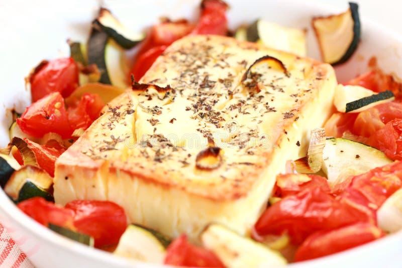 испеченные овощи feta сыра стоковая фотография