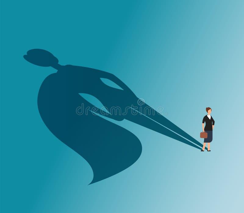 Исполнительная женщина с тенью супергероя Сильная концепция вектора коммерсантки и победы дела иллюстрация вектора