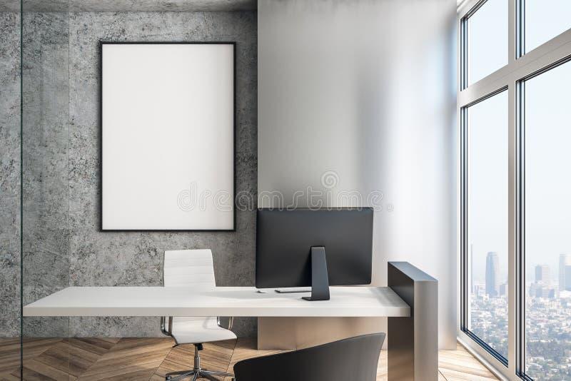 Исполнительное рабочее место в современном интерьере иллюстрация вектора