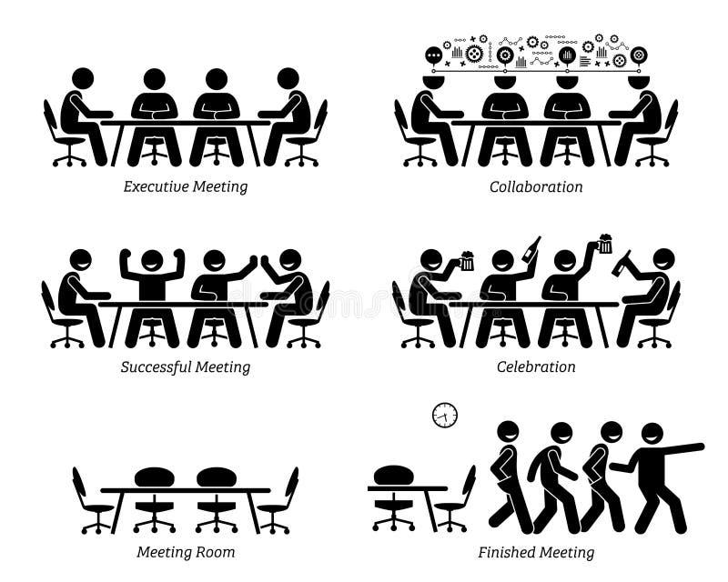Исполнительные власти имея эффективные и эффективные встречу и обсуждение иллюстрация вектора