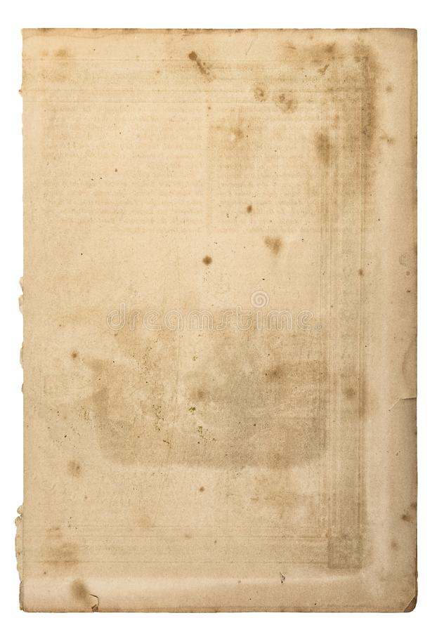 Используемая страница старой книги листа бумаги стоковое фото