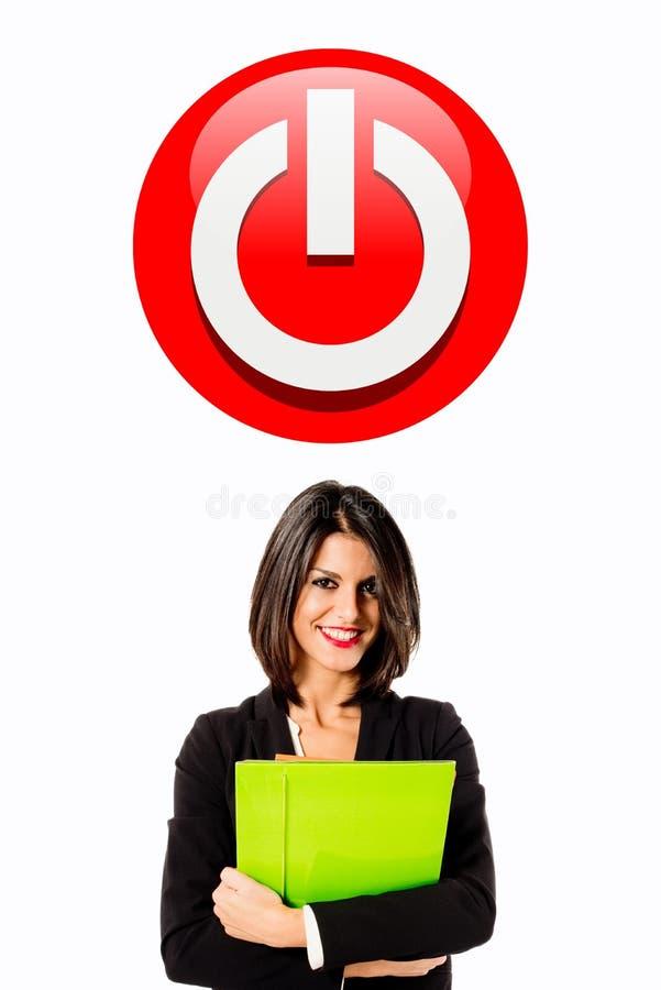 Исполнительная кнопка силы женщины стоковая фотография