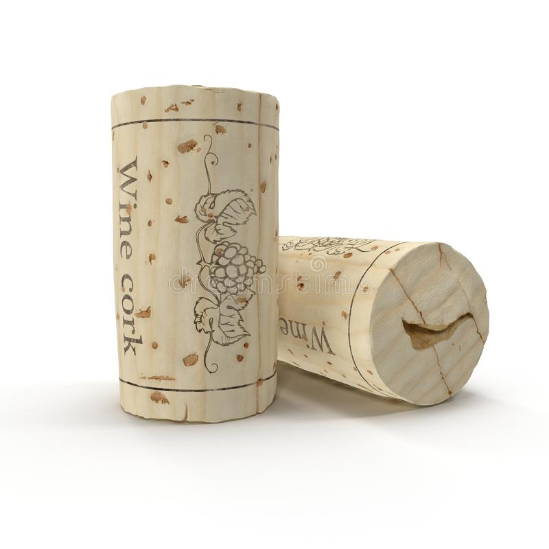 Используемая пробочка вина на белизне иллюстрация 3d иллюстрация штока