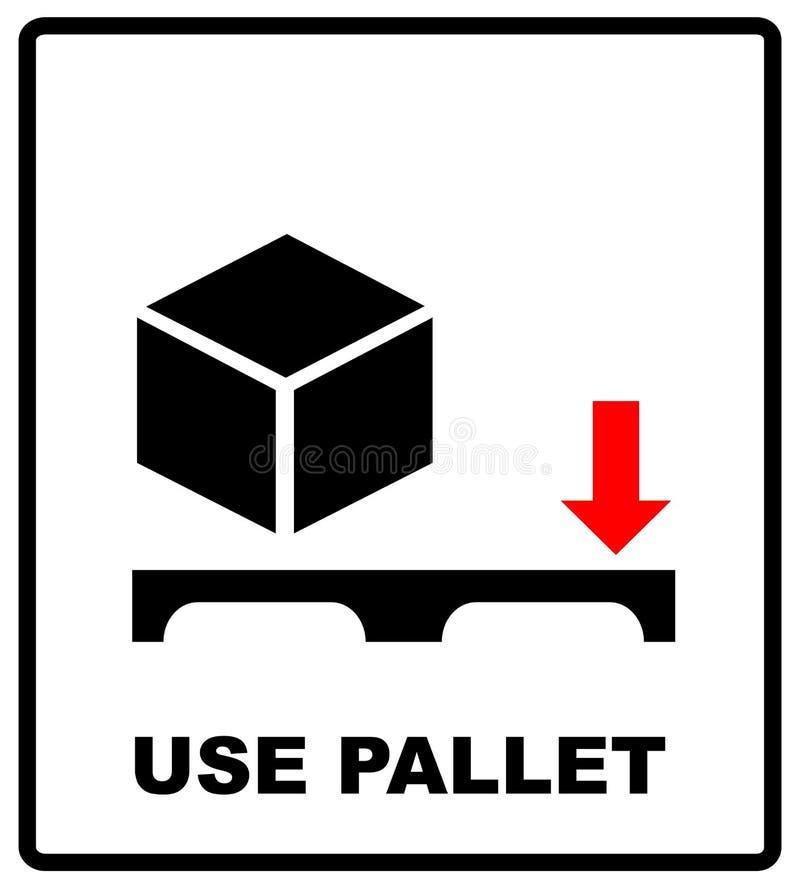 Используйте знак паллета Символ массового вектора упаковывая на предпосылке картона вектора Регулировать метку на предпосылке бум иллюстрация штока