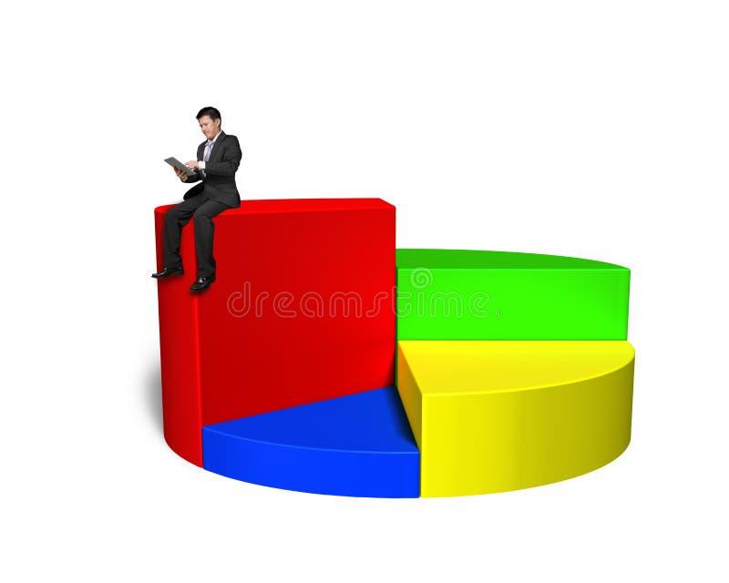 Используя таблетку и сидеть na górze долевой диограммы 3d иллюстрация штока