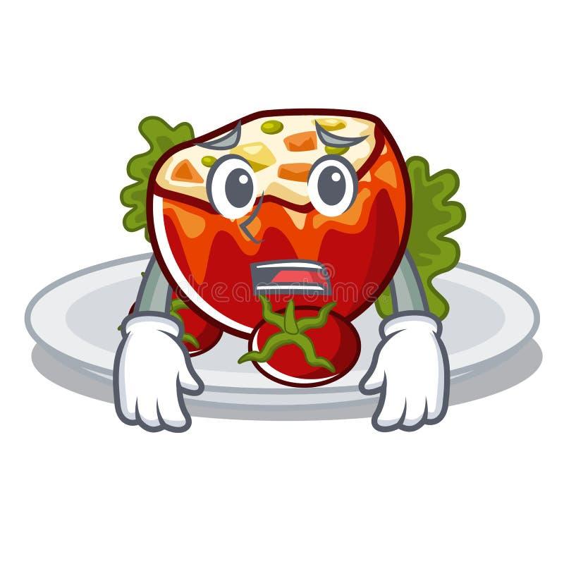 Испуганные заполненные томаты на доске мультфильма иллюстрация штока