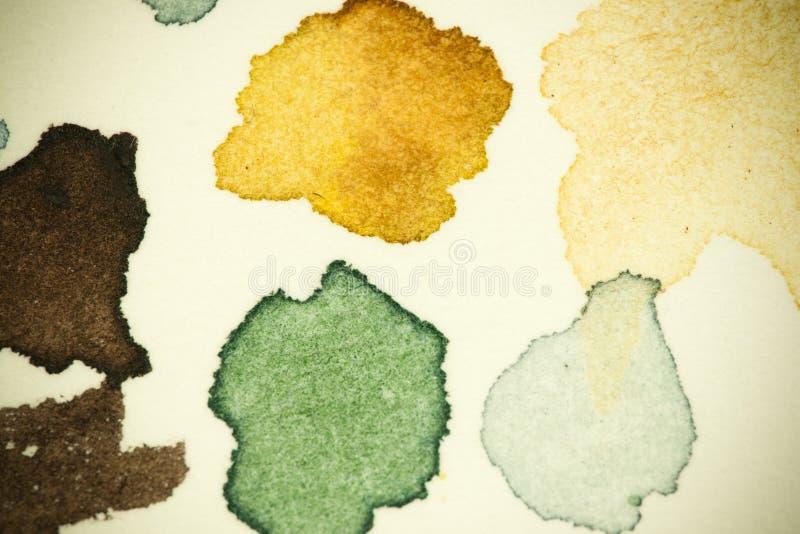 Испытайте пятна краски акварели живые на толстом листе бумаги aquarelle, вышл как группа в составе малые падения и брызните метки иллюстрация штока