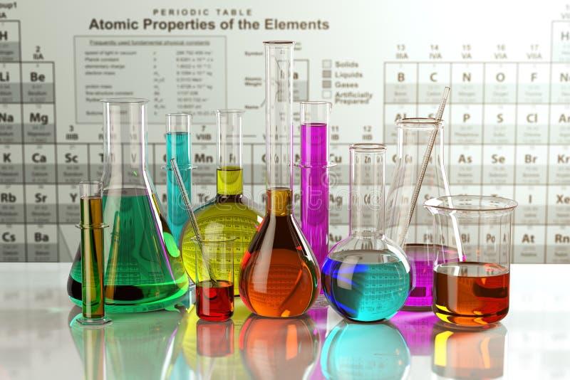 Испытайте стеклянные склянки и трубки с покрашенными решениями на периоде иллюстрация вектора
