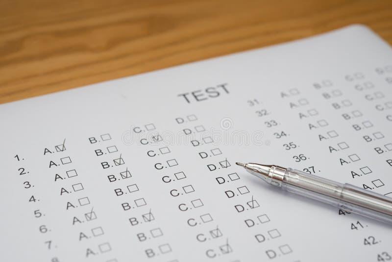 испытание листа счета ответов стоковое изображение