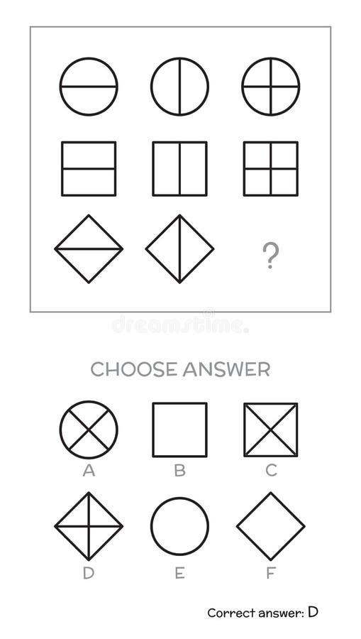 Испытание IQ выбирает ответ иллюстрация вектора