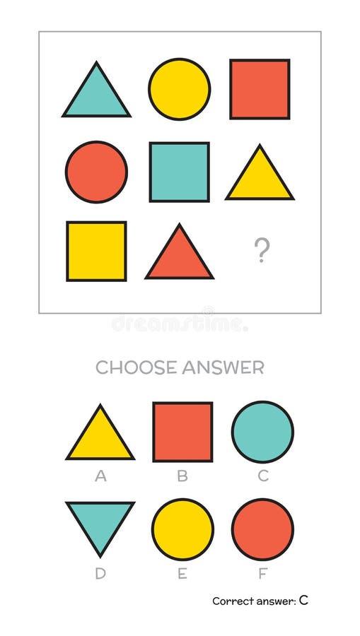 Испытание IQ выбирает ответ иллюстрация штока